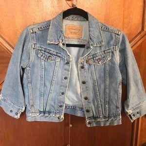 Levi's cropped denim jacket 3/4 sleeve size Small